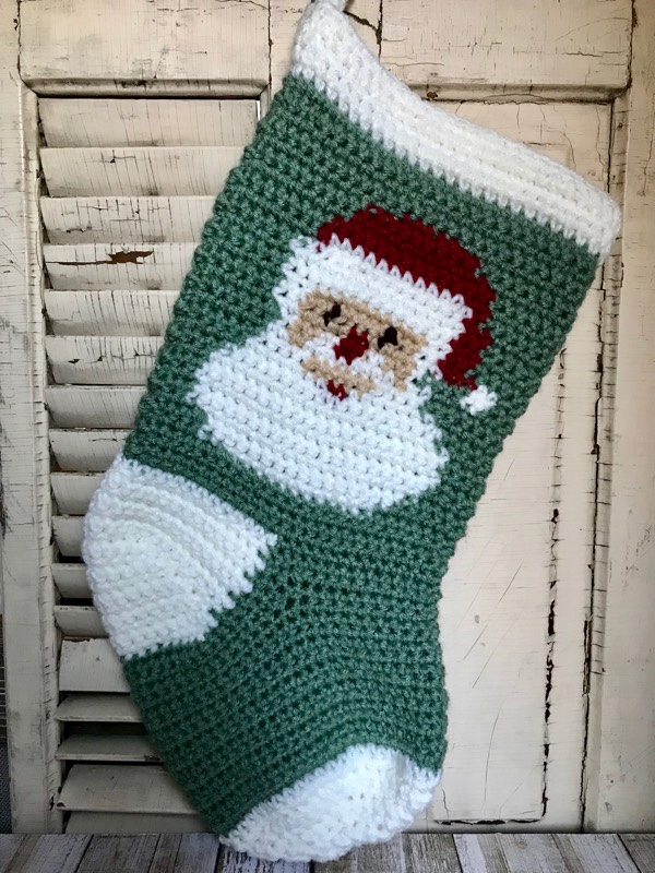 Santa Claus crocheted Christmas stocking